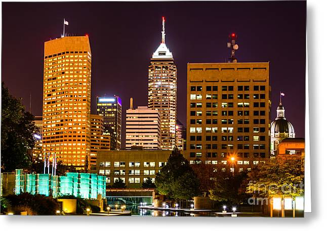 Downtown Indiana Greeting Cards - Indianapolis Skyline at Night Picture Greeting Card by Paul Velgos