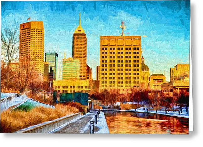 Monument Circle Greeting Cards - Indianapolis Skyline Canal View Digital Painting Greeting Card by David Haskett