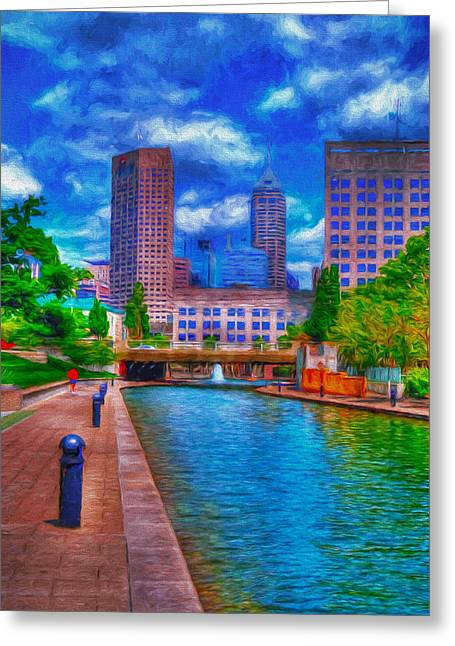 Monument Circle Greeting Cards - Indianapolis Skyline Canal View Digitally Painted Blue Greeting Card by David Haskett