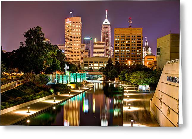 Indiana Greeting Cards - Indianapolis Skyline - Canal Walk Bridge View Greeting Card by Gregory Ballos