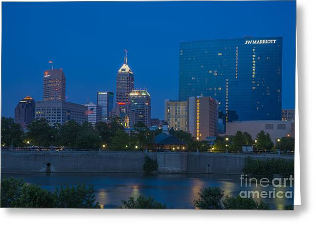 Indiana Scenes Greeting Cards - Indianapolis Skyline Dusk May 2013 Greeting Card by David Haskett