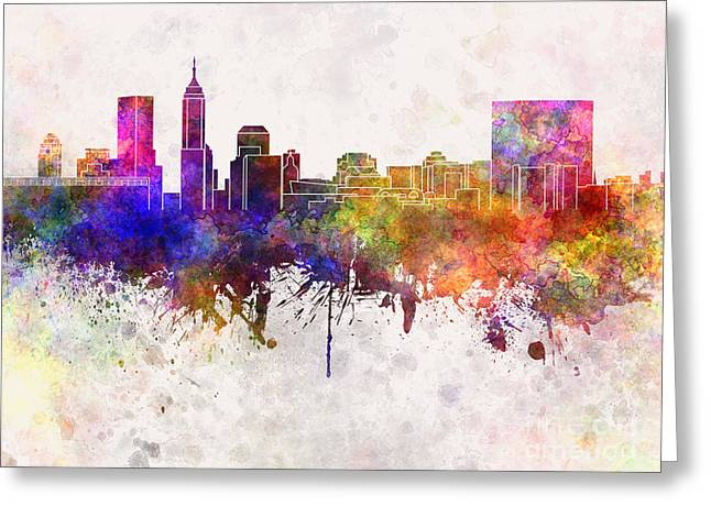 Indiana Paintings Greeting Cards - Indianapolis skyline in watercolor background Greeting Card by Pablo Romero
