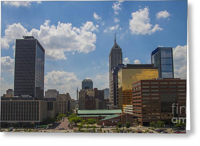Indy Car Greeting Cards - Indianapolis Skyline June 2013 Greeting Card by David Haskett