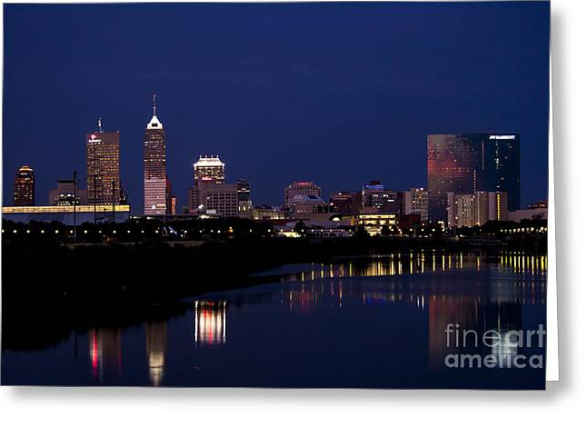Indianapolis 500 Greeting Cards - Indianapolis Skyline Night YES Greeting Card by David Haskett