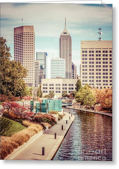 Indiana Trees Greeting Cards - Indianapolis Skyline Old Retro Picture Greeting Card by Paul Velgos
