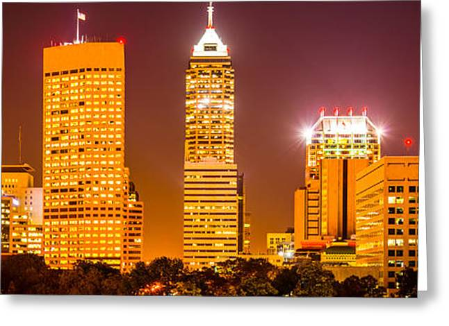 Indiana Photography Greeting Cards - Indianapolis Skyline Panorama Picture  Greeting Card by Paul Velgos