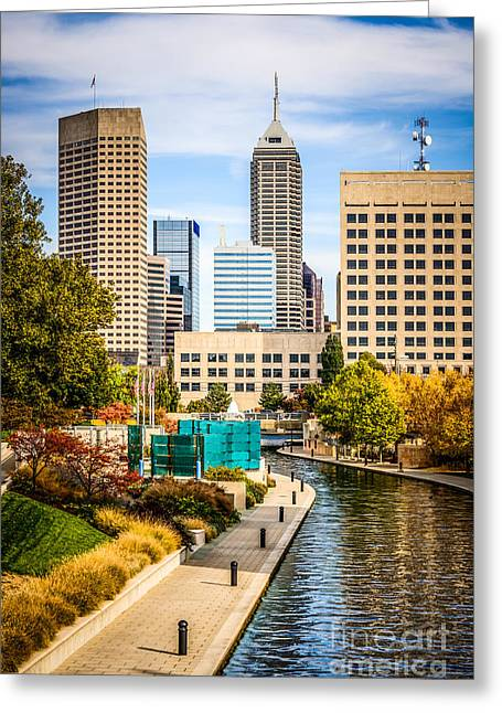Indiana Trees Greeting Cards - Indianapolis Skyline Picture of Canal Walk in Autumn Greeting Card by Paul Velgos