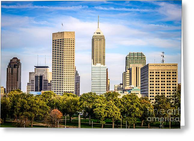 Indiana Trees Greeting Cards - Indianapolis Skyline Picture Greeting Card by Paul Velgos