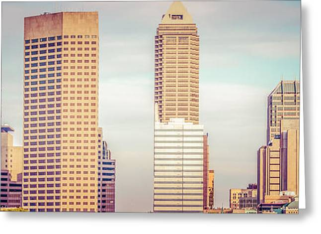Indiana Trees Greeting Cards - Indianapolis Skyline Retro Panoramic Picture Greeting Card by Paul Velgos