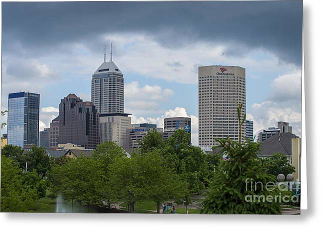 Indy Car Greeting Cards - Indianapolis Skyline Storm 3 Greeting Card by David Haskett