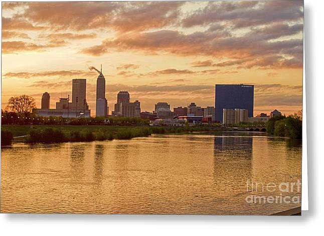 Jw Marriott Greeting Cards - Indianapolis Sunrise Greeting Card by David Haskett