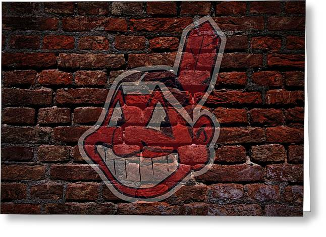 Cabin Wall Greeting Cards - Indians Baseball Graffiti on Brick  Greeting Card by Movie Poster Prints