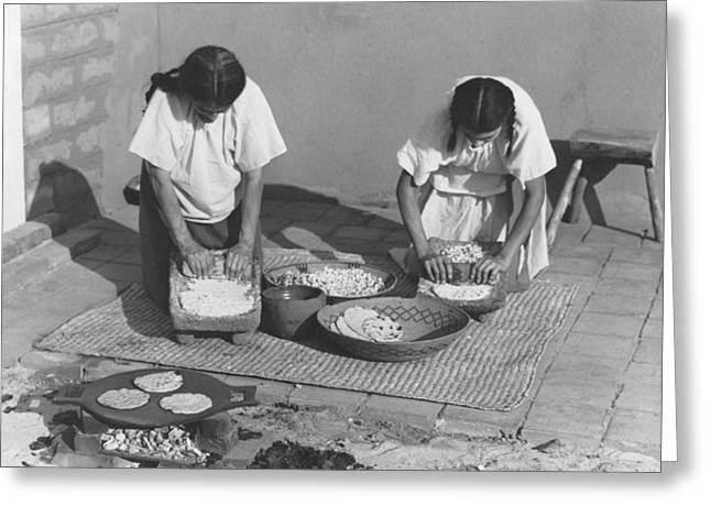 Indians Making Tortillas Greeting Card by Underwood Archives