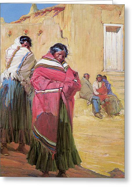 Indian Warriors Photographs Greeting Cards - Indians Outside Taos Pueble Greeting Card by Gerald Cassidy