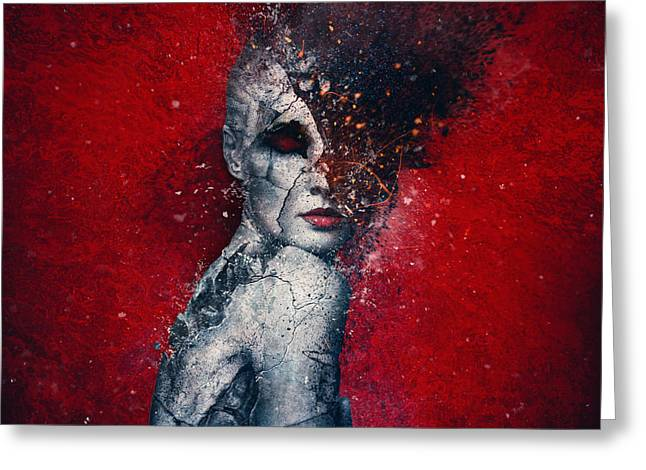 Red Digital Art Greeting Cards - Indifference Greeting Card by Mario Sanchez Nevado