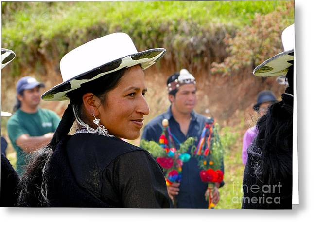 Breastplate Greeting Cards - Indigenous Woman Of Saraguro Greeting Card by Al Bourassa