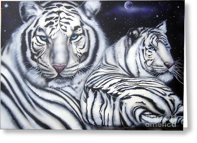 Jaguars Greeting Cards - Indigo - Acrylic On Canvas Greeting Card by Chad Johnson