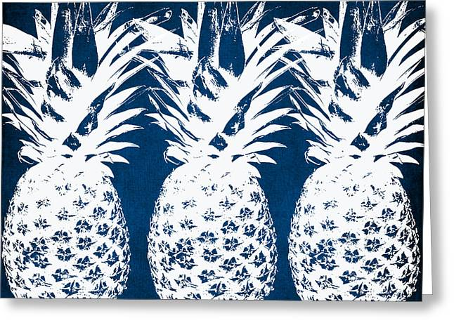 Kitchen Wall Greeting Cards - Indigo and White Pineapples Greeting Card by Linda Woods