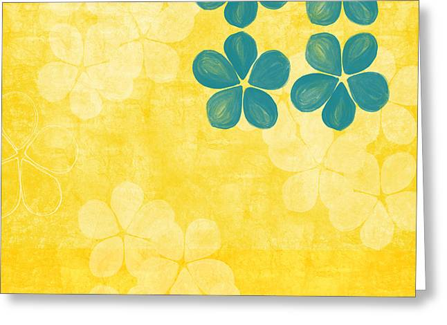 White Florals Greeting Cards - Indigo and Yellow Flowers Greeting Card by Linda Woods