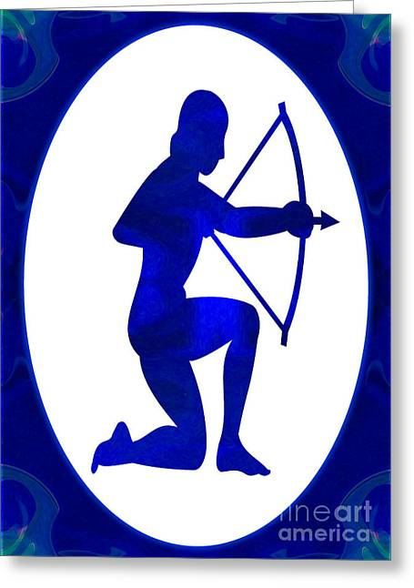 Indigo Chakra Greeting Cards - Indigo Archer Abstract Astrological Chakra Art by Omaste Witkows Greeting Card by Omaste Witkowski