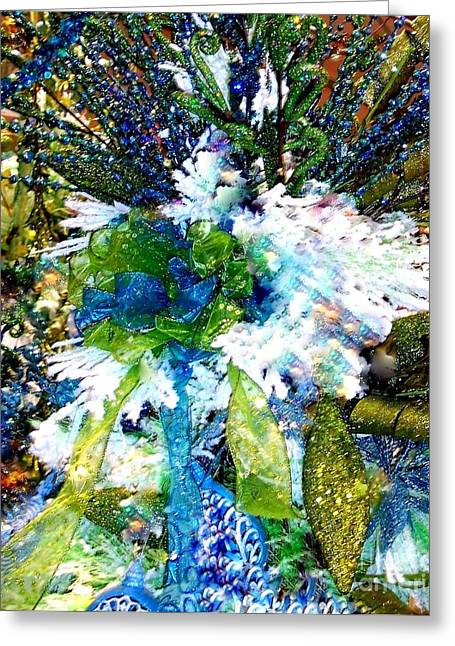 Cheer On Greeting Cards - Indigo Blue Green Festive Holiday Greeting Card by Janine Riley