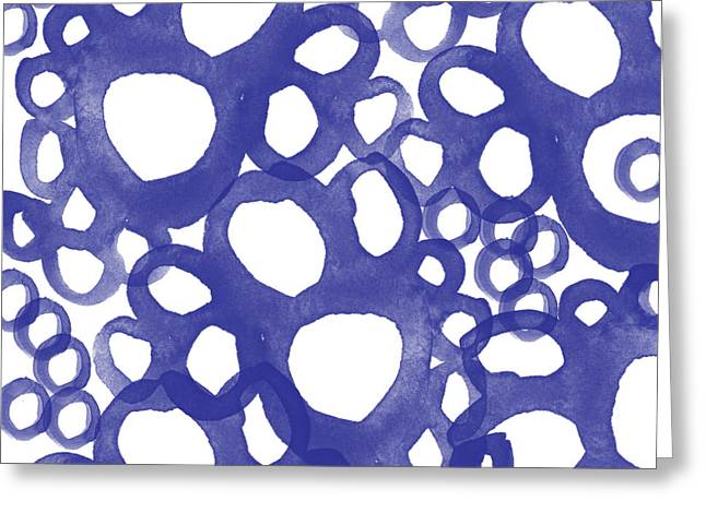Circles Greeting Cards - Indigo Bubbles- Contemporary Absrtract Watercolor Greeting Card by Linda Woods