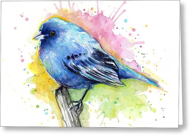 Fat Greeting Cards - Indigo Bunting Blue Bird Watercolor Greeting Card by Olga Shvartsur