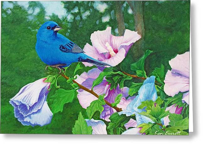 Acrylic Art Paintings Greeting Cards - Indigo Bunting  Greeting Card by Ken Everett