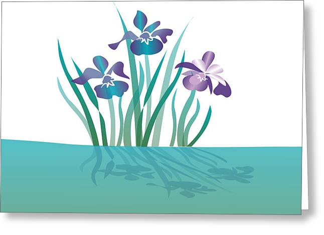 Julia Bowman Greeting Cards - Indigo Iris Greeting Card by Julia and David Bowman
