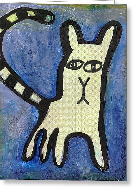 Chihuahua Artwork Greeting Cards - Indigo Greeting Card by Jen Kelly Hirai