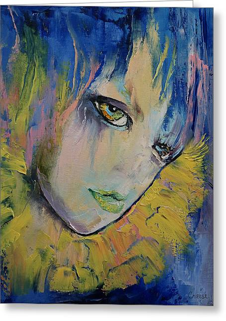 Artist Fashion Art Greeting Cards - Indigo Greeting Card by Michael Creese