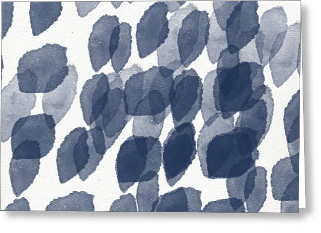 Hospitality Greeting Cards - Indigo Rain- abstract blue and white painting Greeting Card by Linda Woods