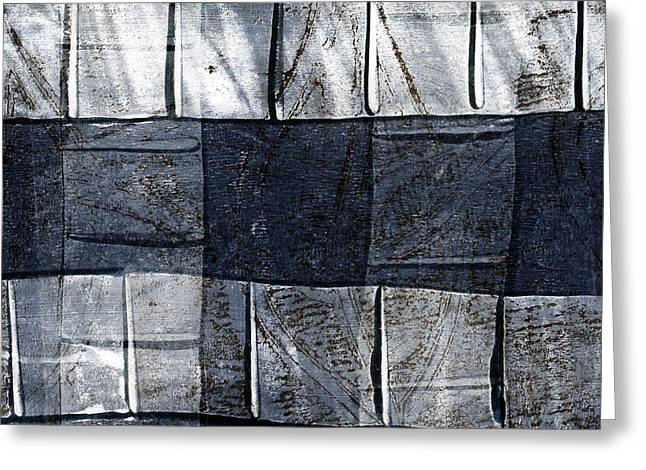 Blue-gray Greeting Cards - Indigo Squares 1 of 5 Greeting Card by Carol Leigh