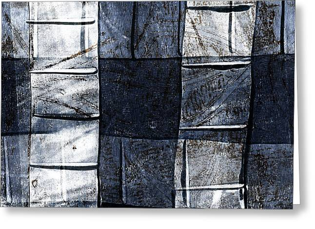 Blue-gray Greeting Cards - Indigo Squares 2 of 5 Greeting Card by Carol Leigh