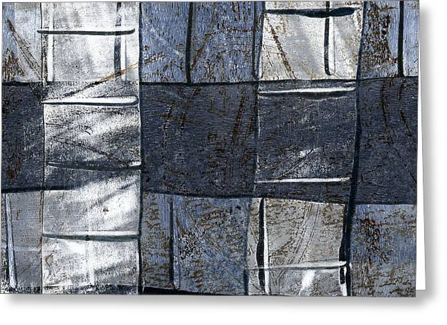 Blue-gray Greeting Cards - Indigo Squares 3 of 5 Greeting Card by Carol Leigh