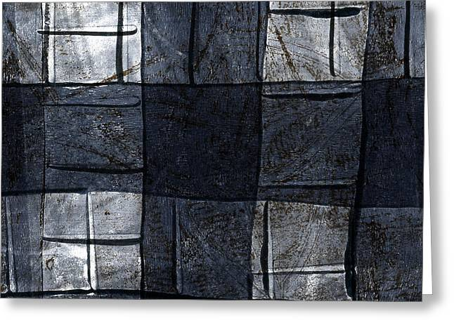 Blue-gray Greeting Cards - Indigo Squares 4 of 5 Greeting Card by Carol Leigh