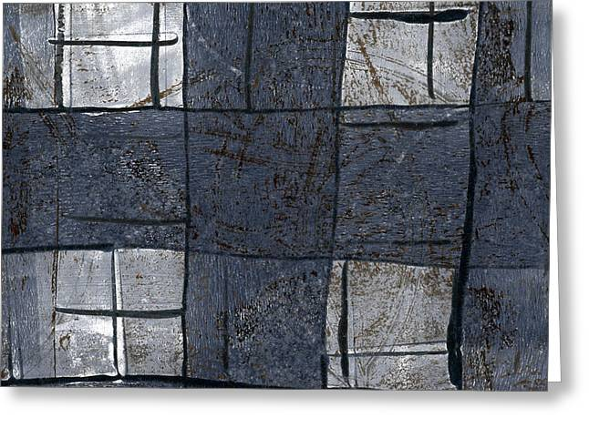 Blue-gray Greeting Cards - Indigo Squares 5 of 5 Greeting Card by Carol Leigh