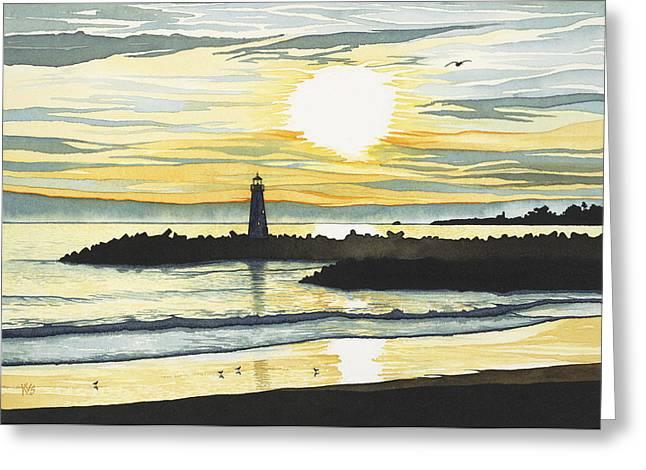 Santa Cruz Pier Paintings Greeting Cards - Indigo Sunset Greeting Card by Kerry Van Stockum