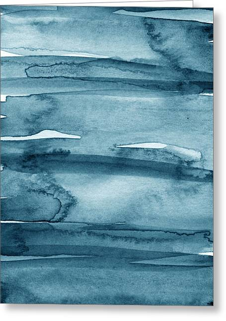 Affordable Greeting Cards - Indigo Water- abstract painting Greeting Card by Linda Woods