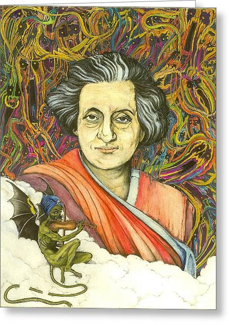 Assassinated Drawings Greeting Cards - Indira Gandhi Greeting Card by James Oliver