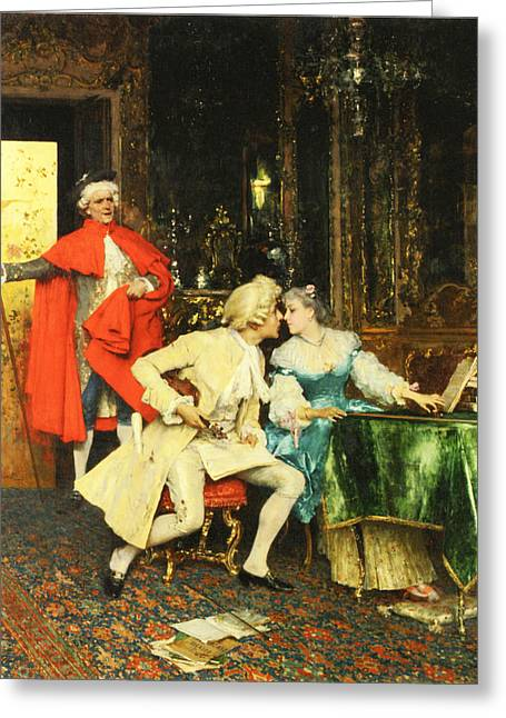 Man And Woman In Love Greeting Cards - Indiscretion Greeting Card by Federico Andreotti