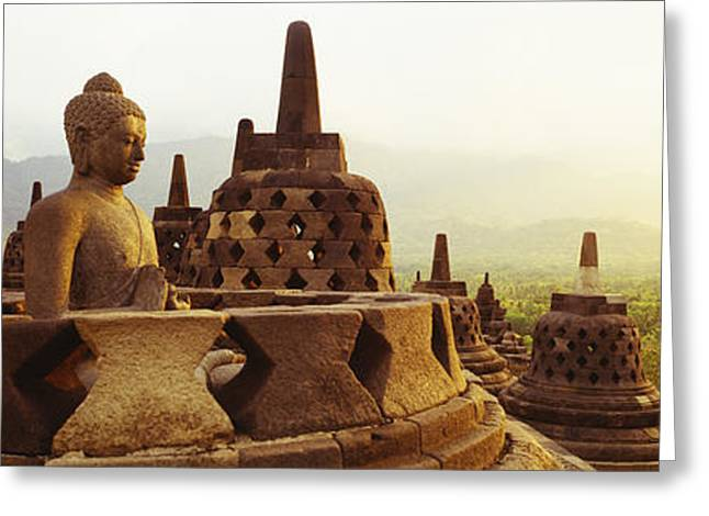 Historic Statue Greeting Cards - Indonesia, Java, Borobudur Temple Greeting Card by Panoramic Images