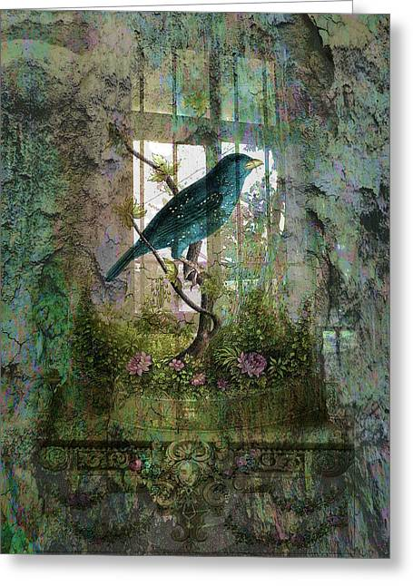 Sarah Vernon Greeting Cards - Indoor Garden with Bird Greeting Card by Sarah Vernon