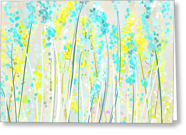 Blues And Yellows Greeting Cards - Indoor Spring- Yellow And Teal Art Greeting Card by Lourry Legarde