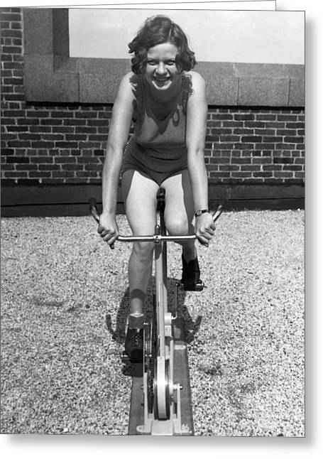 Indoor Stationary Bike Race Greeting Card by Underwood Archives