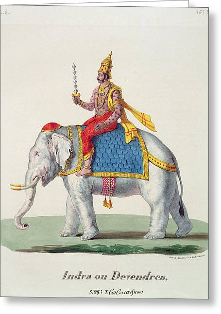 Hindu Greeting Cards - Indra Or Devendra, From Linde Greeting Card by French School