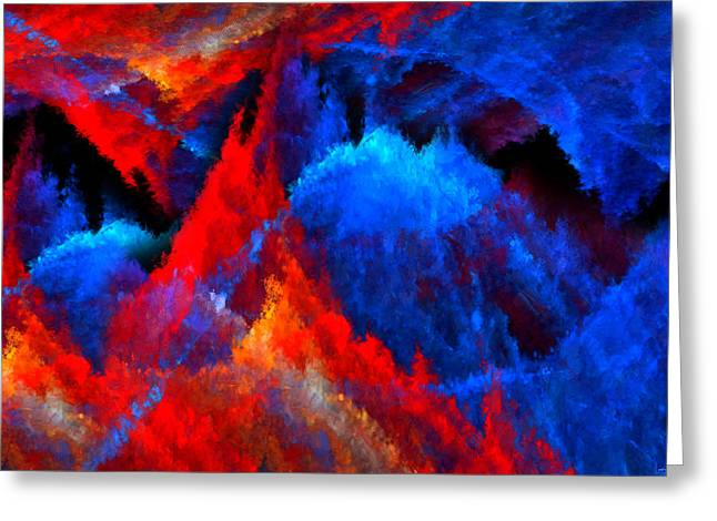 Reds Orange And Blue Greeting Cards - Inducers Greeting Card by Lourry Legarde