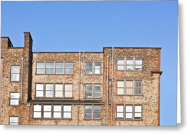 Manufacturing Greeting Cards - Industrial building Greeting Card by Tom Gowanlock