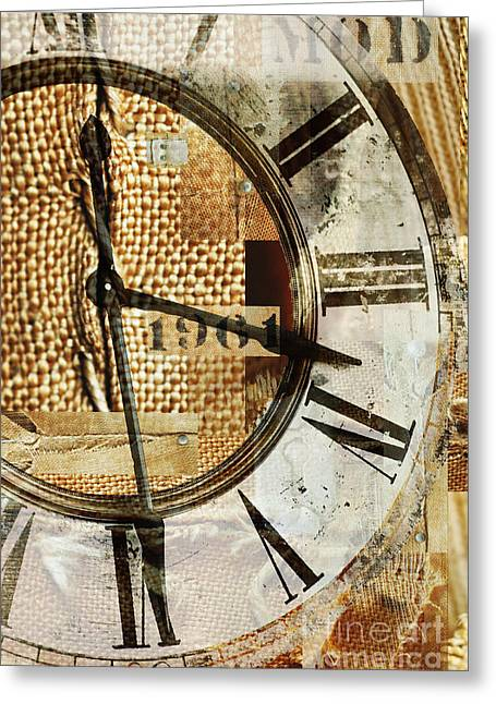 Family Time Greeting Cards - Industrial Burlap Clock Greeting Card by Adspice Studios