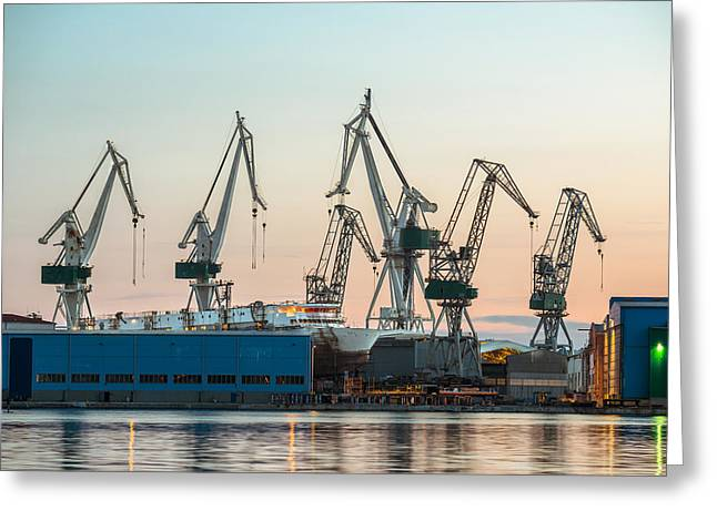 Water Vessels Pyrography Greeting Cards - Industrial cargo cranes in the dock Greeting Card by Oliver Sved